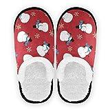 Mnsruu Lindo muñeco de nieve copo de nieve rojo casa de Navidad zapatillas antideslizantes de algodón para el hogar, hotel, spa, dormitorio, viajes, M para hombres y mujeres