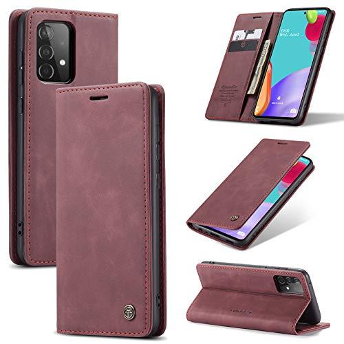 Handyhülle für Samsung Galaxy A52 Hülle Lederhülle Premium Leder PU Flip Wallet Schutzhülle Kartenfach Tasche 360 Grad Front Anti-Shock Displayschutz Case mit Galaxy A52 Cover (Rot,4G)