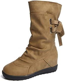d80299c9e7f16a NEOKER Bottes Souple Femme Plate Compensées Talon Elastique Bottines Cuir  Boots Haute Semelle Augmenter 3 cm