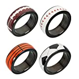 bibididi 4 Styles Anneaux Spinner en Acier Inoxydable Basketball Football Volleyball Rugby Anneaux, Bague Diamant Mode, 12