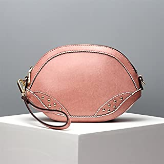 Leather 2018 New Women's Clutch Wallet Leather Fashion Handbag Simple Shoulder Diagonal Ladies Wallet Small Wallet Waterproof (Color : Pink, Size : S)