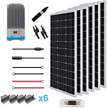 Renogy 600W 12V Solar Premium Kit W/ 6 Pcs 100W Solar Panel+60A MPPT Charge Controller+Solar Cable+Solar Fuse Mounting Z Brackets For RV, Boat