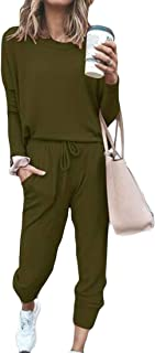 Yeirui Women's Pcs 2 Jogger Drawstring Outfits Pants Sport Solid Color Casual Tracksuits