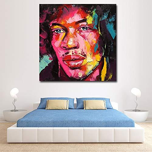 KWzEQ Leinwanddrucke Farbiges Gesicht Wandbild Hauptdekoration für Schlafzimmer Wohnzimmer Poster60x60cmRahmenlose Malerei