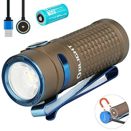 Olight S1R II Baton - Linterna pequeña de 1000 lúmenes/138 metros CW LED, compacta, con interruptor lateral recargable, con batería recargable