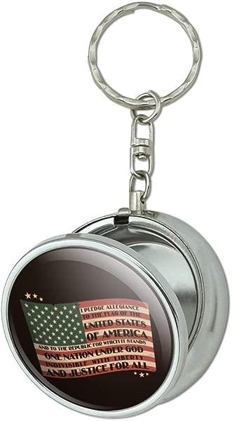 GRAPHICS MORE USA Vintage Flag Pledge Of Allegiance Portable Travel Size Pocket Purse Ashtray Keychain With Cigarette Holder