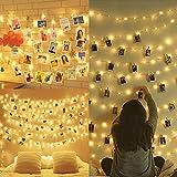 Amteker Led Foto Clip Lichterketten für Zimmer, 100 Led 10m Lichterkette mit Klammern für Fotos,...