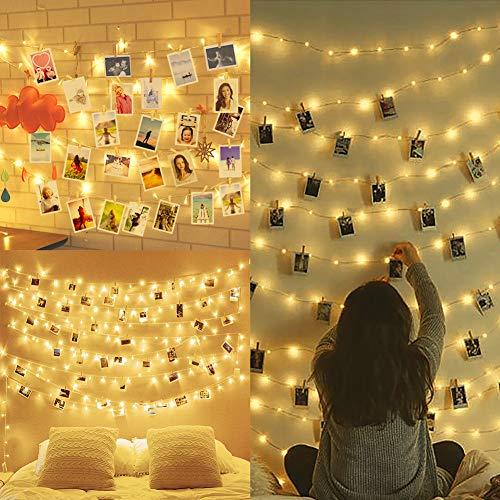 Amteker Led Foto Clip Lichterketten für Zimmer, 100 Led 10m Lichterkette mit Klammern für Fotos, Bilderrahmen Dekor für Innen, Haus, Weihnachten, Hochzeit, Schlafzimmer (50 Holzklammern & 20 Nägeln)