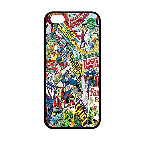 Bornsk Cover Gomma TPU Fumetti Supereroi Collage Eroi Alta QUALITA' (iPhone 5/5s SE)