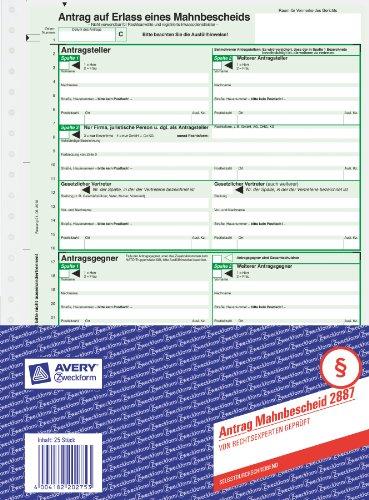 Avery Zweckform 2887-5 Mahnbescheid Antrag (A4, selbstdurchschreibend, 1 Satz) 5er Pack, grün