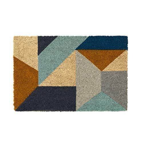 D,casa - Felpudo Abstracto geométrico Multicolor contemporáneo de Fibra de Coco Natural de 40x60 cm