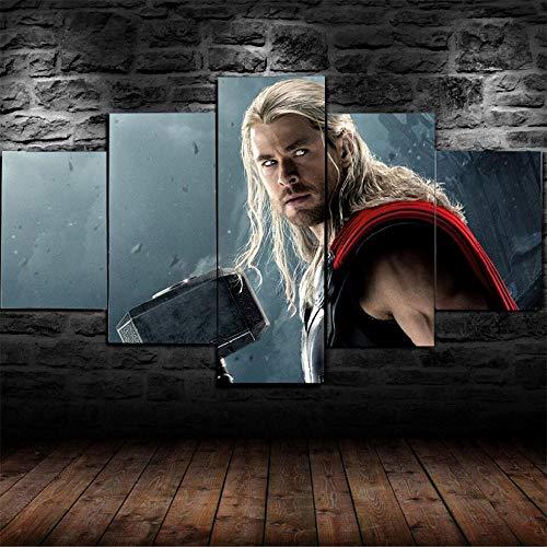 BHJIO 5 Piezas Cuadro sobre Lienzo Imagen Personajes De Superhéroes De Los Vengadores Impresión Pinturas Murales Decor Fotos para Salon Dormitorio Baño Comedor Regalo 80X150Cm