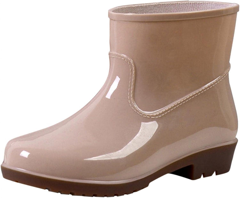 Zieglen Women Ankle Booties, Buckle Waterproof Mid Tube Boots Low Heel Booties Rain Boots Western Boots Chunky Combat Booties Shoes