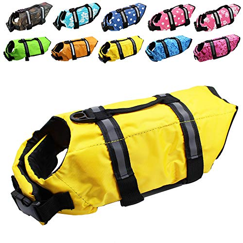 Dog Life Jacket Easy-Fit Adjustable Belt Pet Saver Swimming Safety Swimsuit Preserver with Reflective Stripes for Doggie (M, Yellow)