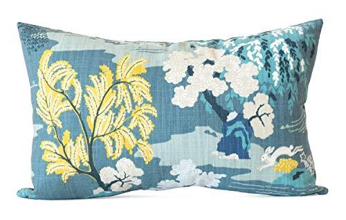 Toll2452 verde azulado funda de almohada Asiática funda de almohada verde azulado cubierta de almohada lumbar chinoiserie almohada toile almohadas asiática decoración pavo real azul almohada