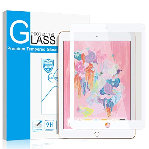 SMAPP iPad 9.7' (2018/2017) / iPad Pro 9.7 Inch/iPad Air 2 / iPad Air Screen Protector, Tempered Glass for iPad 6th / 5th Gen Screen Protector [Anti-Scratch] [Colored Border] Apple Pencil Compatible