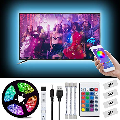 LED Light Strip, L8star 6.56ft(2m) USB TV Backlight Kit Light Strips for 40-60in TV Sync with Music App and Remote Control-5050 LED Bias Lighting for HDTV(6.56ft)
