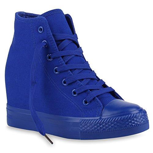 stiefelparadies Damen Sneakers Keilabsatz Sneaker-Wedges Trendfarben Stoffschuhe 139854 Blau Blau 38 Flandell