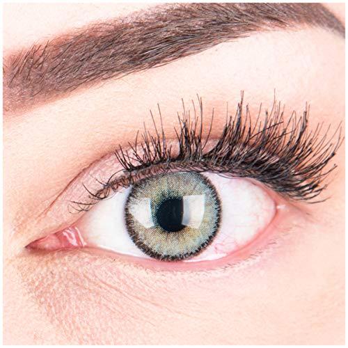 GLAMLENS lentillas de color -gris Mirel Grey + contenedor. 1 par (2 piezas) - 90 Días - Sin Graduación - 0.00 dioptrías - blandos - Lentes de contacto grises de hidrogel de silicona