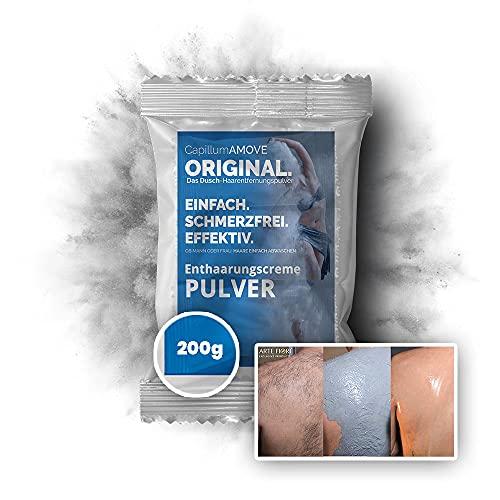 200g schmerzfreie Dusch Intim Enthaarungscreme Pulver - Capillum AMOVE Original - für Mann & Frau ohne synth. Zusätze