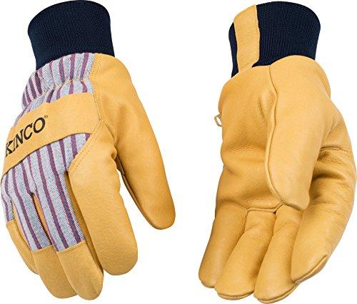 Kinco 1927KW-S Herren Handschuhe aus Schweinsleder, gefüttert, wärmebeständiges Innenfutter, Größe S, goldfarben