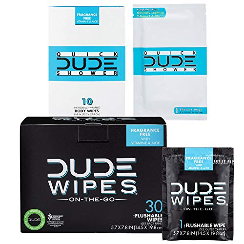 DUDE Wipes Flushable (30pk) & DUDE Shower Body Wipes (10pk) Unscented...
