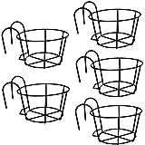 WUHUAROU Macetas de balcón para colgar, estante de flores de hierro, soporte para jardinera, para balcones, vallas, paredes individuales o barandillas, 9 x 13 cm, color negro (5 unidades)