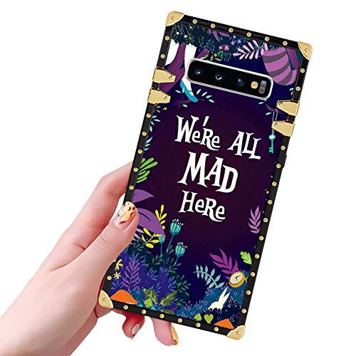 DISNEY COLLECTION Samsung Galaxy S10 Plus Case for Women Girls Alice in Wonderland Pattern Square Glitter Slim Shockproof Bumper Protective Cover for Galaxy S10 Plus, Galaxy S10+ 6.4 Inch
