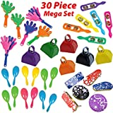 Loud Noise Makers Bulk 30 Piece Set - 6 of each - Cowbell, Hand Clappers, Cymbals, Spinners, Maracas for Kids - Noisemakers Party Favors, Goodie Bag Fillers