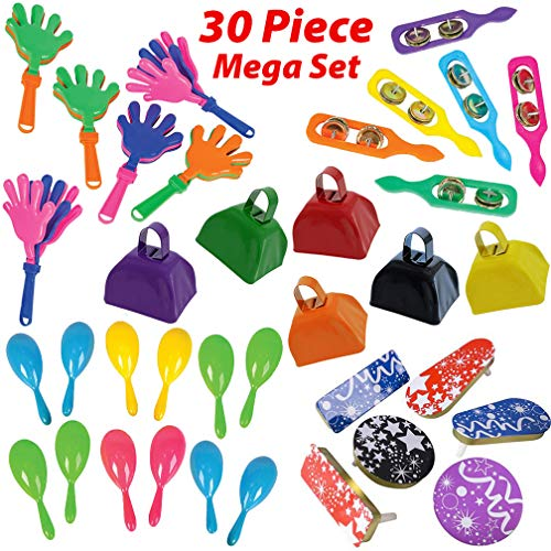 Save %9 Now! Loud Noise Makers Bulk 30 Piece Set - 6 of each - Cowbell, Hand Clappers, Cymbals, Spin...