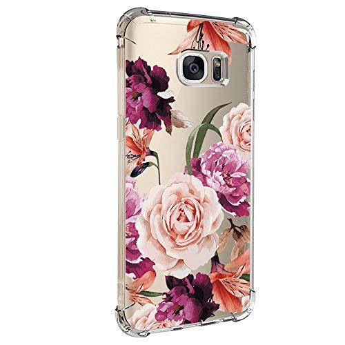 Cover per Samsung Galaxy S6 Edge, in morbido silicone, motivo floreale, sottile, flessibile, in gomma sottile 4 M