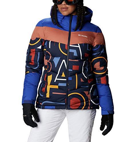 Columbia Damen Isolierte Skijacke, Abbott Peak,Dunkelblau/Aufdruck/Blau (Dark Nocturnal/Multi Typo Print/Lapis Blue),XS