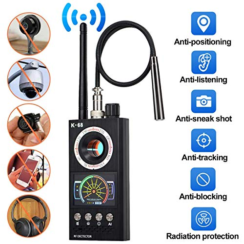 ICQUANZX Anti-Spion versteckte Kamera Detektor, RF Detektor Wireless Bug Detector Signal für versteckte Kamera Laser Objektiv GSM Device Finder Radio Scanner Wireless Signal Alarm (neueste Modell K68)