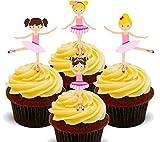 Ballerinas/ballet dancers,–decoración para tarta para comestible stand-up oblea Cupcake Toppers, 12 unidades