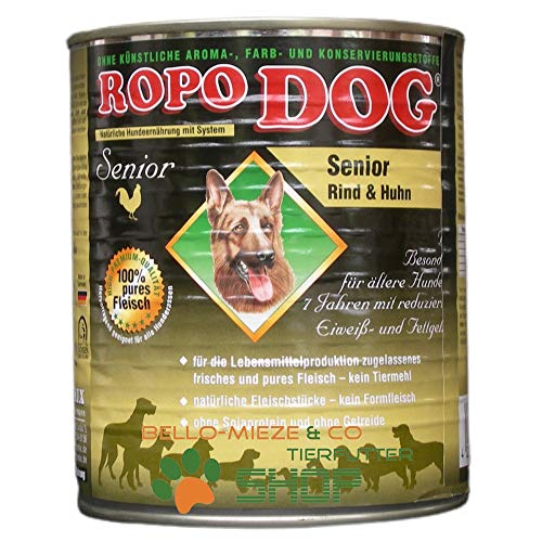 RopoDog 30 Dosen à 800 gr Senior Rind & Huhn - 96% Fleisch