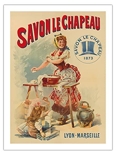 Pacifica Island Art Le Chapeau Soap (Savon le Chapeau) - Lione, Marsiglia, Francia - Poster pubblicitario vintage di Francisco Tamagno c.1873 - Carta opaca di alta qualità, 61 x 81 cm