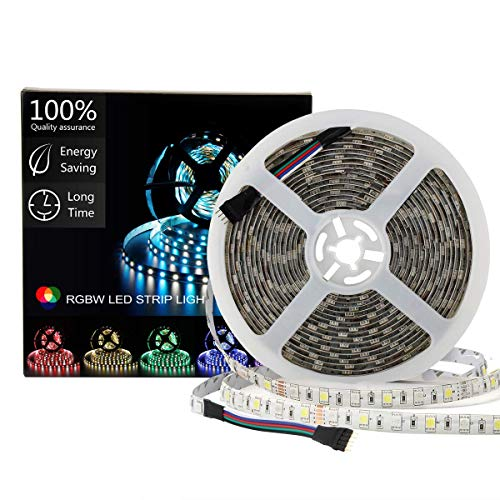 SUPERNIGHT LED Light Strip Waterproof RGBW, RGB + Warm White, 16.4ft/5M SMD 5050 Mixed Color Changing 300 LEDs Flexible Rope Lights for Party,Bedroom,Home,Car,Boat,TV Decoration
