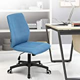 Okeysen Office Desk Chair, Ergonomic Mid Back Armless Task Studio Chair, Fabric Swivel Computer Chair Without Arms. (Blue)