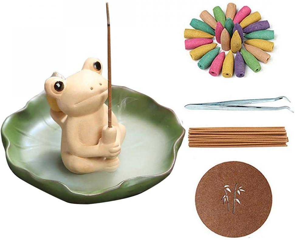 Ceramic Incense Burner Backflow Frog Incense Holder, Home Office