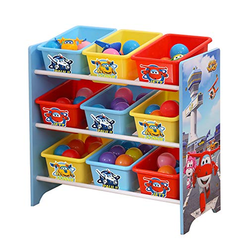 Style home Kinderregal Spielzeugregal Holz Bücherregal mit 9 Box Super Wings Bücherregal Kinderzimmerregal Spielzeug-Organizer ''Super Wings'' C3DTJ006