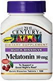 21st Century Melatonin Quick Dissolve Tablets, Cherry, 10 mg, 120 Count (Pack of 3)