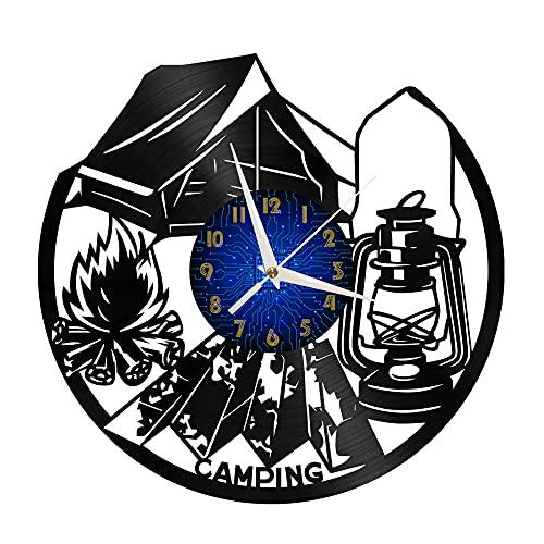 KDBWYC Cámping Idea Regalo, Reloj De Vinilo, Reloj De Pared, Idea Regalo
