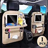 Car Back seat Organizer with Foldable Table Tray, PU Leather Car Back seat Organizer for Babies Toys Storage with Foldable Dining Table Holder Pocket,1 Pack,Beige
