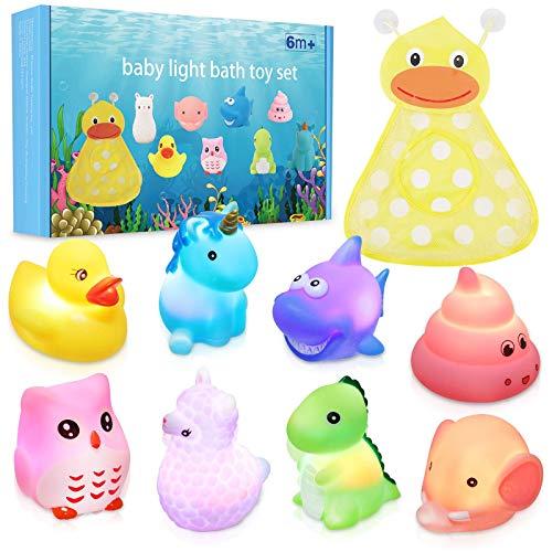 Lictin Badewannenspielzeug - 8 Stück Niedliches Tier LED Licht Badespielzeug Set, Wasserspielzeug Kinder mit Bad Spielzeug Aufbewahrung, Early Learning Badespielzeug für Kleinkind Jungen Mädchen