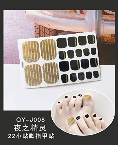 BGPOM Foot Stickers Nail Stickers Nail Stickers Fully Waterproof Lasting 3D Toenail Stickers Patch 10 Sheets/Set,Night Elf (QY-J008)