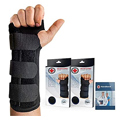 Doctor Developed Carpal Tunnel Wrist Brace Night & Wrist Support & Sleep Brace [Single] (with splint) -Registered Class I Medical Device & Doctor Written Handbook - Fully Adjustable to Fit any Hand (Right) from Dr. Arthritis