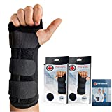 Doctor Developed Carpal Tunnel Night Wrist Brace & Wrist Support [Single] (with splint) & Doctor Written Handbook - Fully Adjustable to Fit any Hand (Left)