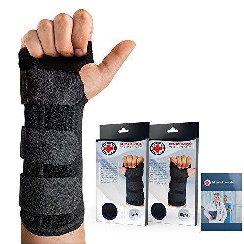 Dr. Arthritis - Handgelenkschiene inkl. Handbuch vom Arzt - Handgelenkschoner Mit Robuster Metallschiene - Handgelenkstütze Passend Für Jede Hand - Karpaltunnelsyndrom Schiene (Rechts)