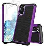 Zectoo Galaxy S20 Case with Screen Protector(2 Pack), Samsung Galaxy S20 Cute Case, Zectoo Hybrid Shock Absorbing Rubber Silicone & Plastic Anti-Scratch Bumper Grip Rugged Hard Case Cover [Purple]