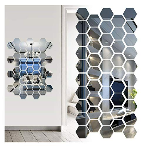Iwinna Mirror Wall Stickers, Geometric 3D Hexagon Acrylic Mirror Sheet Art DIY Home Decorative Self Adhesive Mirror Tiles Sticker for Home Living Room Bedroom Sofa Wall Decal Decor (48)